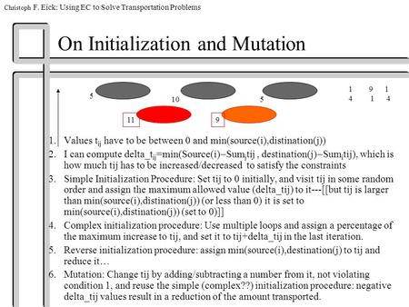 Christoph F. Eick: Using EC to Solve Transportation Problems On Initialization and Mutation 1.Values t ij have to be between 0 and min(source(i),distination(j))