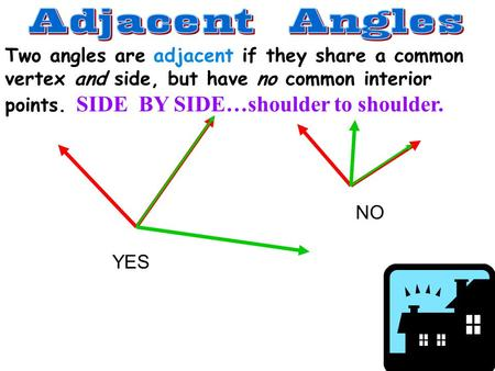 Two angles are adjacent if they share a common vertex and side, but have no common interior points. SIDE BY SIDE…shoulder to shoulder. YES NO.