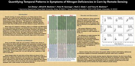 Remote sensing of canopy reflectance on a field scale has been proposed as a useful tool for diagnosing nitrogen (N) deficiency of corn plants. Differences.