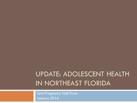 UPDATE: ADOLESCENT HEALTH IN NORTHEAST FLORIDA Teen Pregnancy Task Force January 2014.