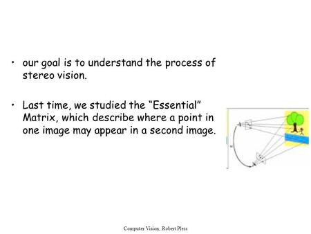 "Computer Vision, Robert Pless our goal is to understand the process of stereo vision. Last time, we studied the ""Essential"" Matrix, which describe where."