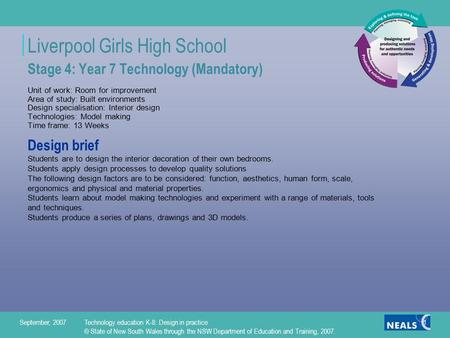 Liverpool Girls High School September, 2007Technology education K-8: Design in practice © State of New South Wales through the NSW Department of Education.