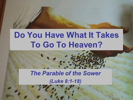 Do You Have What It Takes To Go To Heaven? The Parable of the Sower (Luke 8:1-18)