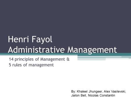 Henri Fayol Administrative Management