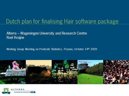 Dutch plan for finalising Hair software package Alterra – Wageningen University and Research Centre Roel Kruijne Working Group Meeting on Pesticide Statistics,