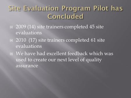  2009 (14) site trainers completed 45 site evaluations  2010 (17) site trainers completed 61 site evaluations  We have had excellent feedback which.