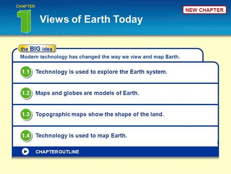 CHAPTER NEW CHAPTER Views of Earth Today the BIG idea