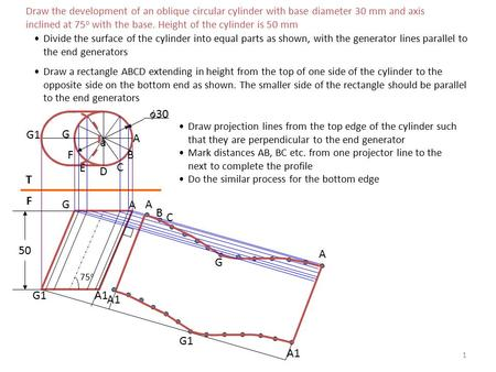 1 Draw the development of an oblique circular cylinder with base diameter 30 mm and axis inclined at 75 o with the base. Height of the cylinder is 50 mm.