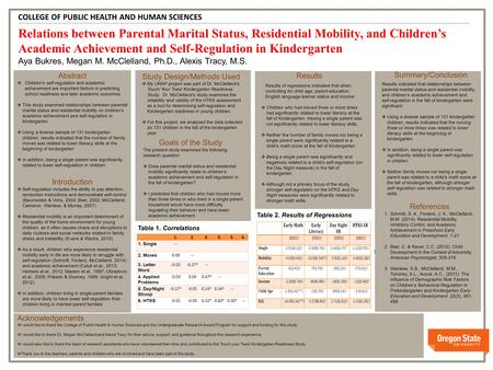 V v Relations between Parental Marital Status, Residential Mobility, and Children's Academic Achievement and Self-Regulation in Kindergarten Aya Bukres,