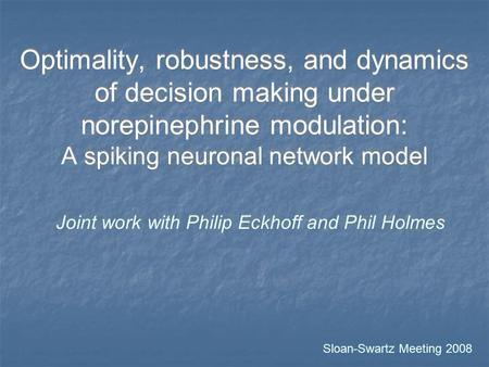 Optimality, robustness, and dynamics of decision making under norepinephrine modulation: A spiking neuronal network model Joint work with Philip Eckhoff.