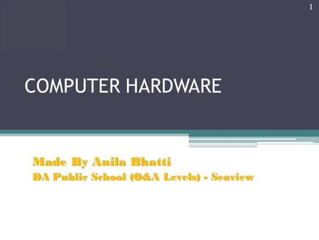 COMPUTER HARDWARE Made By Anila Bhatti DA Public School (O&A Levels) - Seaview 1.