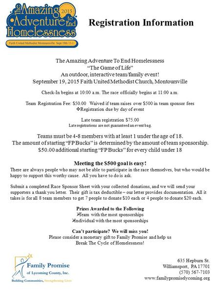 "The Amazing Adventure To End Homelessness ""The Game of Life"" An outdoor, interactive team/family event! September 19, 2015 Faith United Methodist Church,"