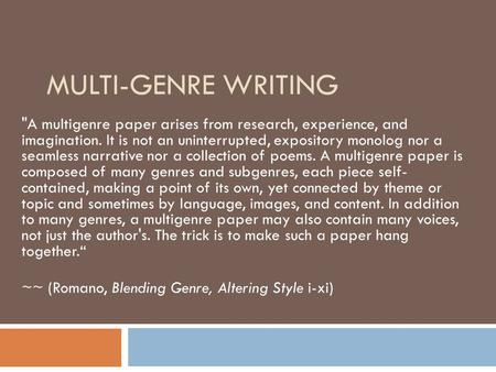 genre research papers