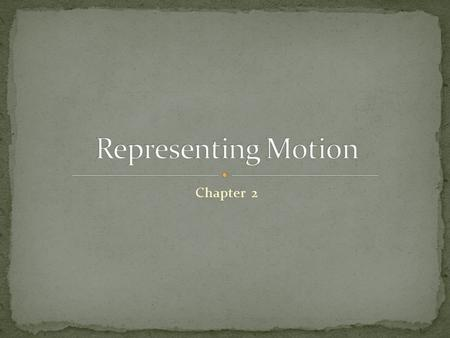 Chapter 2. What kinds of motion can you describe? How do you know that an object has moved? Be specific. Let's start at the very beginning… Straight Line.