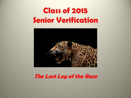 Class of 2015 Senior Verification The Last Leg of the Race.