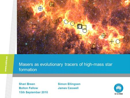Masers as evolutionary tracers of high-mass star formation Shari BreenSimon Ellingsen Bolton FellowJames Caswell 15th September 2010.