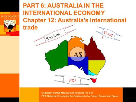 Copyright  2005 McGraw-Hill Australia Pty Ltd PPT Slides t/a Economics for Business 3e by Fraser, Gionea and Fraser PART 6: AUSTRALIA IN THE INTERNATIONAL.