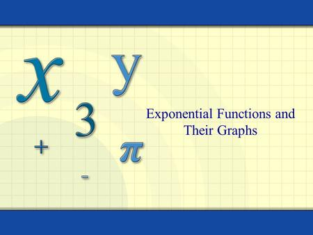 Exponential Functions and Their Graphs. 2 The exponential function f with base b is defined by f(x) = ab x where b > 0, b  1, and x is any real number.