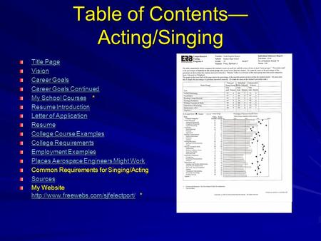 Table of Contents— Acting/Singing Title Page Title Page Vision Career Goals Career Goals Career Goals Continued Career Goals Continued My School CoursesMy.