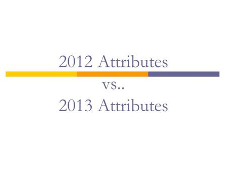 2012 Attributes vs.. 2013 Attributes.  ATB with Proprietary and Budgetary USSGL Accounts  Edits vs.. Validations  Online vs.. Bulk File Submission.