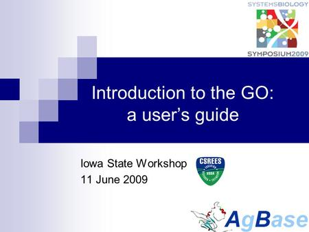 Introduction to the GO: a user's guide Iowa State Workshop 11 June 2009.