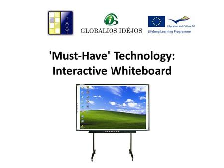 'Must-Have' Technology: Interactive Whiteboard. What is an interactive whiteboard?...is a touch-sensitive screen that works in conjunction with a computer.