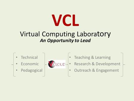 VCL Virtual Computing Labora tory An Opportunity to Lead Technical Economic Pedagogical Teaching & Learning Research & Development Outreach & Engagement.