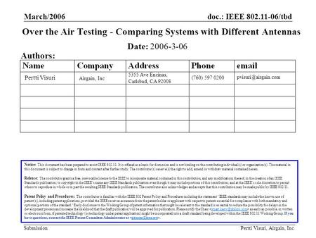 Doc.: IEEE 802.11-06/tbd Submission March/2006 Pertti Visuri, Airgain, Inc. Over the Air Testing - Comparing Systems with Different Antennas Notice: This.
