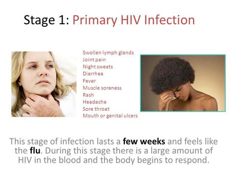 Stage 1: Primary HIV Infection This stage of infection lasts a few weeks and feels like the flu. During this stage there is a large amount of HIV in the.