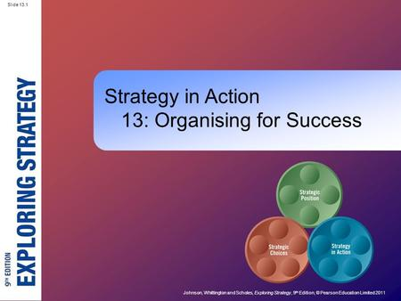 Slide 13.1 Johnson, Whittington and Scholes, Exploring Strategy, 9 th Edition, © Pearson Education Limited 2011 Slide 13.1 Strategy in Action 13: Organising.
