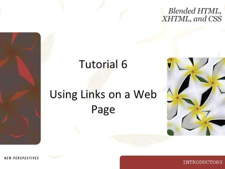 INTRODUCTORY Tutorial 6 Using Links on a Web Page.