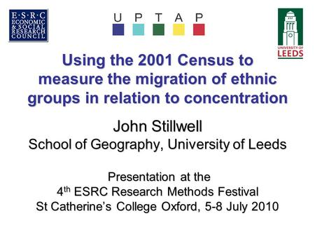 Using the 2001 Census to measure the migration of ethnic groups in relation to concentration John Stillwell School of Geography, University of Leeds Presentation.