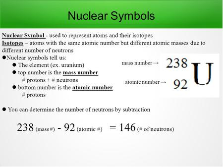 Nuclear Symbols Nuclear Symbol - used to represent atoms and their isotopes Isotopes – atoms with the same atomic number but different atomic masses due.