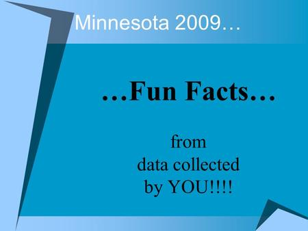 Minnesota 2009… …Fun Facts… from data collected by YOU!!!!