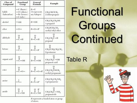 Functional Groups Continued Table R. Ethers: Ethers Continued: 1.Look at both sides of the – O – 2.If the same, use di and ether 3.If different, alphabetize.