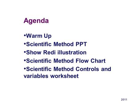 Agenda Warm Up Scientific Method PPT Show Redi illustration Scientific Method Flow Chart Scientific Method Controls and variables worksheet 2011.
