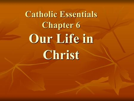 Catholic Essentials Chapter 6 Our Life in Christ