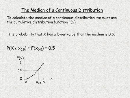 The Median of a Continuous Distribution