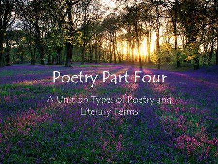 Poetry Part Four A Unit on Types of Poetry and Literary Terms.