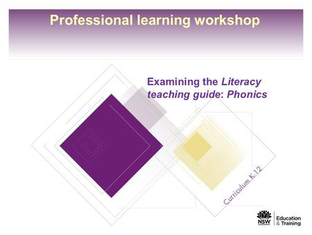Professional learning workshop Examining the Literacy teaching guide: Phonics 1.