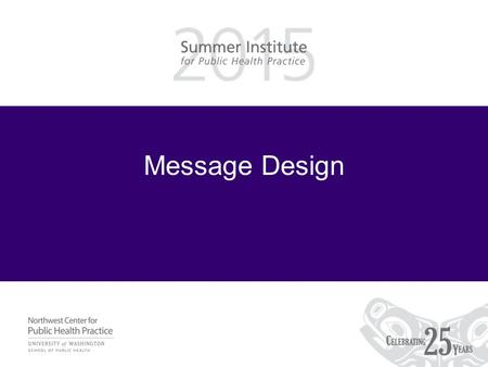 Message Design. Learning Objectives Be able to –Apply sender-message-channel-receiver model to campaigns.