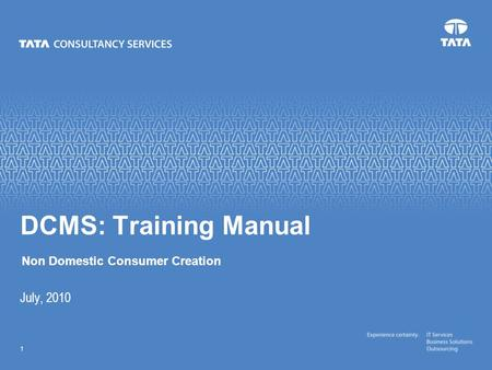 Text 1 July, 2010 DCMS: Training Manual Non Domestic Consumer Creation.