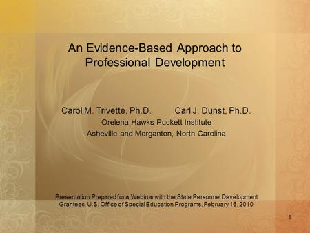 An Evidence-Based Approach to Professional Development