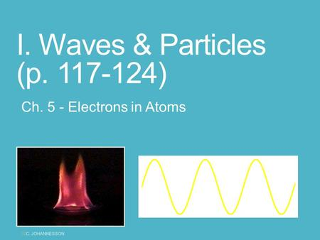 I. Waves & Particles (p. 117-124) Ch. 5 - Electrons in Atoms yC. JOHANNESSON.