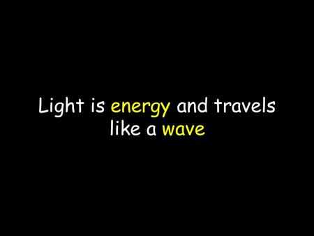 Light is energy and travels like a wave. Electromagnetic Spectrum All energy on our planet comes from the Sun The Sun emits more types of energy than.