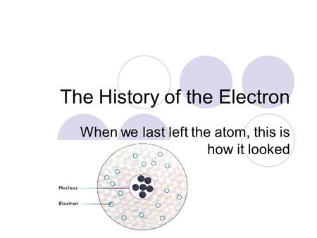The History of the Electron When we last left the atom, this is how it looked.