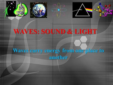 Waves carry energy from one place to another WAVES: SOUND & LIGHT.