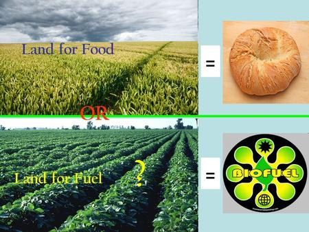 Land for Food OR Land for Fuel ?. Historically, the world's farmers produced food, feed and fiber. Many plants or plant parts are eaten as food. There.