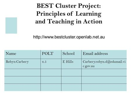 BEST Cluster Project: Principles of Learning and Teaching in Action  NamePOLTSchool address Robyn Carbery4.5E.
