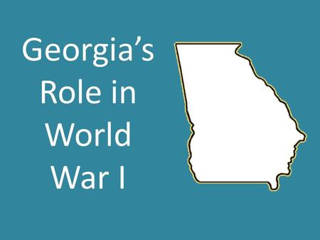 Georgia's Role in World War I